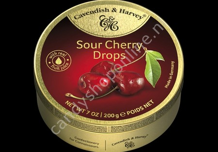 Cavendish & Harvey Sour Cherry Drops with real Fruit Juice 200gr.