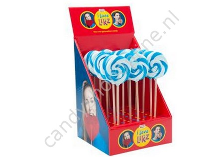 HollandF Sweetz Spiraallolly 1 Blauw/Wit Ø70mm.