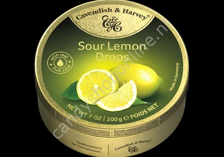 Cavendish & Harvey Sour Lemon Drops with real Fruit Juice 200gr.