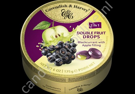 Cavendish & Harvey Double Fruit Drops Blackcurrant with Apple filling 175gr.